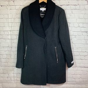 NWOT Clavin Klein Long Wool Pea Coat Large